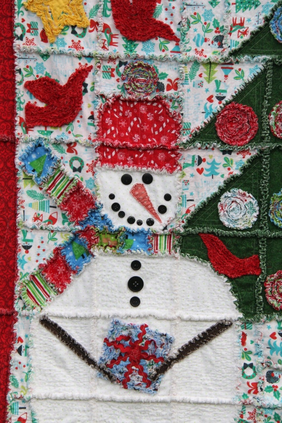 Christmas Rag Quilt pattern Snowman Rag Quilt 53 X : snowman rag quilt pattern - Adamdwight.com