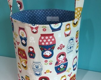 Round Fabric Organiser Bin, Lined & Padded