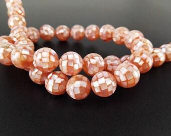 10pcs 10mm Pink Mop Smooth Round Mosaic Beads Pink MOP Shell Mosaic Beads