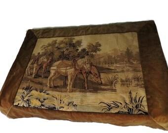 19th Cent Horses Tapestry Victorian Era Handiwork Textile