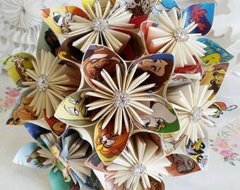 Paper Flower bouquet origami kusudama Disney Princess character theme wedding cinderella snow white beauty & the beast alternative tinkabell