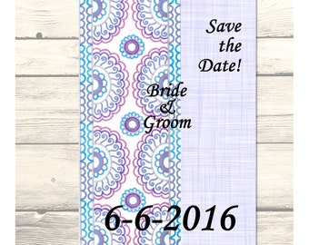 "Purple Persian Lace Wedding ""Save the Date"" Cards Customizable - Printable Digital Download"