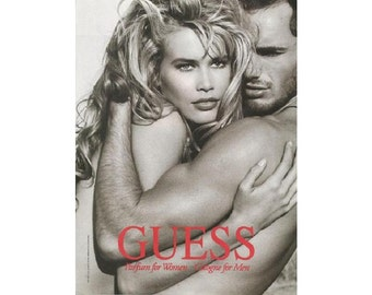 vintage 1992 magazine ad for Guess perfume and cologne with Claudia   Schiffer - 107