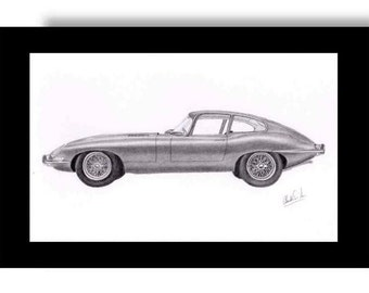 Car art drawing of a Jaguar E-Type  or XKE