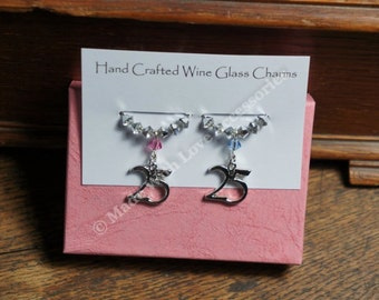 25th Wedding Anniversary Gift - Wine Glass Charms -Wine Charms - Silver Wedding Anniversary, Wedding Anniversary