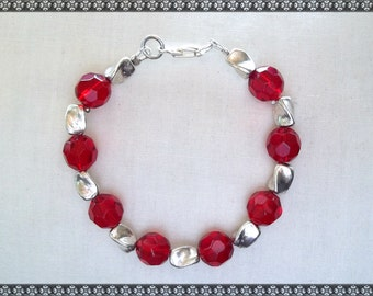 red bracelet, crystal bracelet, red crystal bracelet