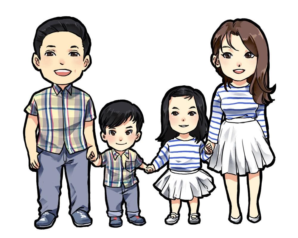 portrait de famille personnalis illustration familiale. Black Bedroom Furniture Sets. Home Design Ideas