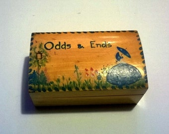 Vintage Wooden Box Handpainted Kitsch Wood Trinket Keepsake Box