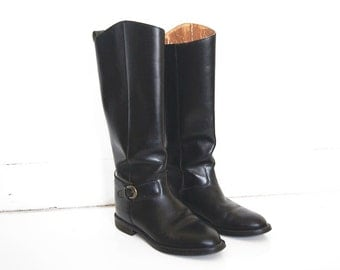 Vintage Nine West Tall Riding Boots - Antonia - Black Leather - Equestrian - Women's Size 6.5 M
