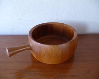 Mid Century Danish Teak Nissen Salad Bowl with Handle