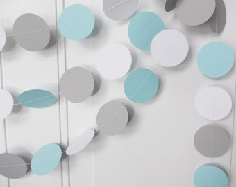 Party Paper Garland, Baby Blue Gray & White Circle Garland, Birthday, Boy Baby Shower, Party Decoration, 12' Ships in 2-3 Business Days