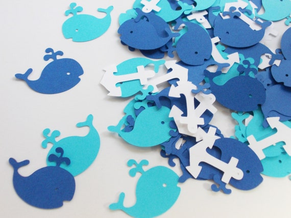 Nautical party decorations whale confetti royal blue for Baby confetti decoration