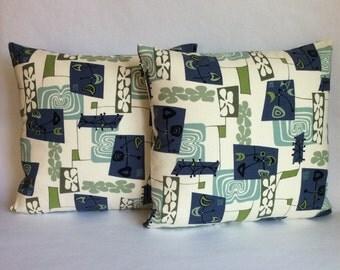 Pair of Atomic Tiki Pillows
