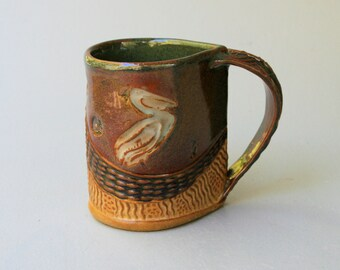 Pelican Mug Pottery Coffee Cup Hand Made Microwave and Dishwasher Safe