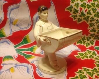 Vintage ceramic hand painted Japanese girl figurine trinket holder- Japan