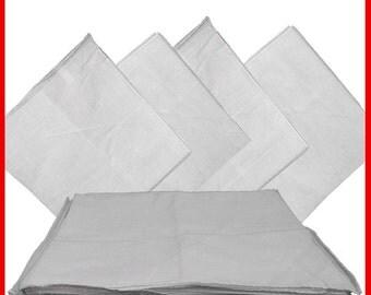 "White Solid Bandanas -  27"" x 27"" 12 Pack (extra large) 100% Cotton"
