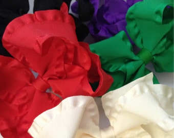 Large 4 inch Double Ruffle Hair Bow You Choose the Color