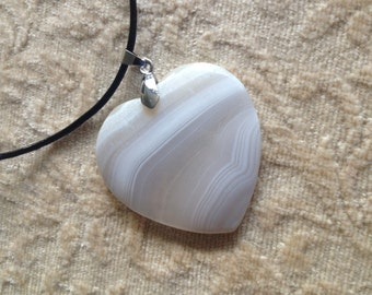 Beautiful White Dull Polish Stripes Agate Peach Heart Pendant - White Heart Shaped Dull Polished Pendant Necklace - White Heart Pendant