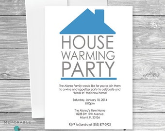 House Warming Invitation - Modern House Warming Invitation Blue - Simple House Warming - Printable Invitations