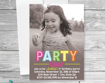 Birthday Invitation with Picture - Kids Birthday Invitation - Children Birthday Invitation - Birthday Invitation - Birthday Party