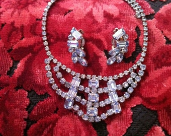 Pale Blue Vintage Rhinestone Necklace and Clip-On Earrings