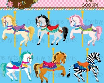 40% Off! Carousel Digital Clip Art Instant Download