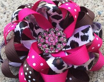 Cheetah and Pink Hair bow First Birthday Hairbow Headband Over the top Animal Print Hair Bow