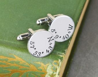 Custom Coordinates Cuff Links - Hand Stamped Groom Gift - Latitude Longitude