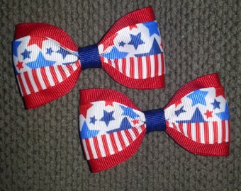Stars and Stripes 4th of July Patriotic USA Handmade Pigtail Bow Set