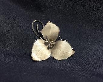 Vintage Silver Brooch, Bond Boyd Sterling Silver Trillium Broach