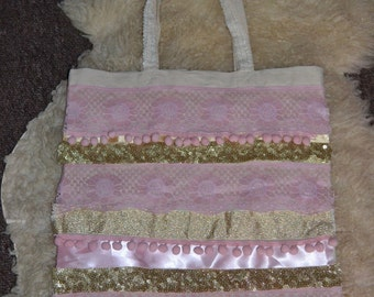 Baby pink & gold canvas tote shoulder bag