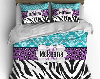Custom Zebra COMFORTER or DUVET Bedding Set, Monogram, Toddler, Twin, Full, Queen, King