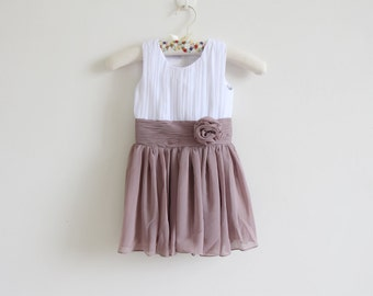 White Greyish Purple Flower Girl Dress with Straps White Light Grey Purple Chiffon Baby Girl Dress With Flower
