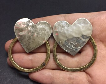 Vintage Sterling silver handmade earrings, solid 925 silver heart studs with copper circle details, stamped reli lofen Sterling
