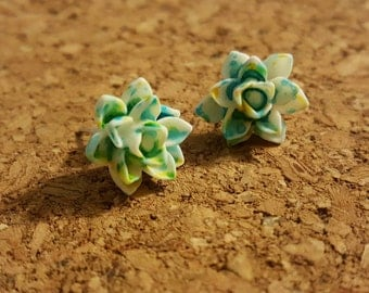 Speckled lotus flower earrings (many colors options)