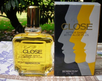 Rare 1980s Remington Close aftershave with aloe-plus. 2 oz. bottle with box
