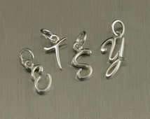 Sterling Silver Cursive Initial Charm--Fancy Letter Pendant--Cursive Alphabet--Spell a Name Charms--Create a Word--Initials Charms