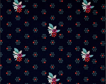 Cotton & Steel Fabric, Fruit Dot Navy, Fruit Blossom, Modern Quilting, Fabric by the Yard, Designed by Melody Miller, Navy Fabric
