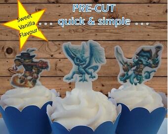 Skylander EDIBLE cupcake cake toppers PRE-CUT stand up birthday