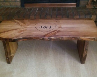 Bench with live edges, rustic hand carved, can be used as an entry bench, coffee table, wedding signature bench, wedding gift