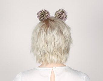 Petal Pom Poms, Allium Pom Poms, Ivory/Lilac Festival Headdress