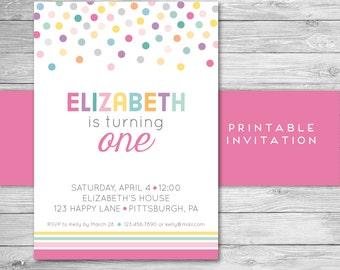 Polka Dot Birthday Invitation - Girl - Rainbow - Printable File