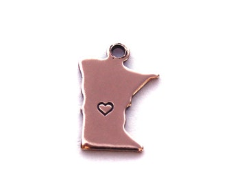 2x Rose Gold Plated Minnesota State Charms w/ Hearts - M132/H-MN