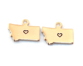 2x Gold Plated Montana State Charms w/ Hearts - M115/H-MT