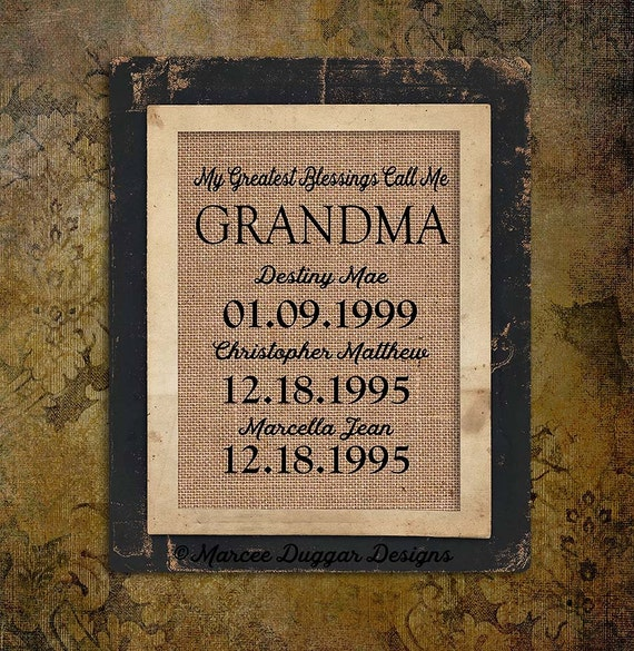 Christmas Gift for Grandma | nana  | Personalized Gift For Grandma | My Greatest Blessings | GiGi Nanna Granny |  Burlap Print |  226