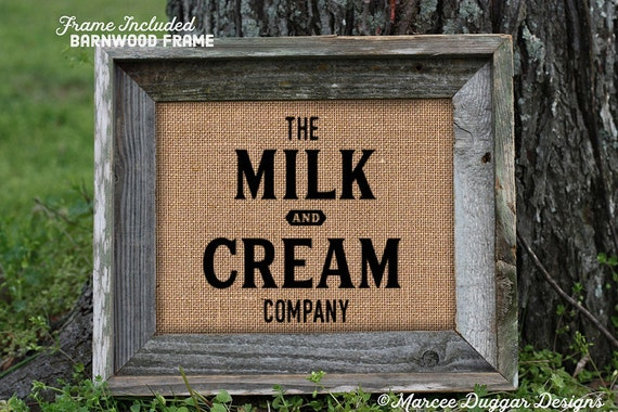 Framed Milk & Cream | Vintage | Milk and Cream Company | Country | Market Farm Fresh | #0217