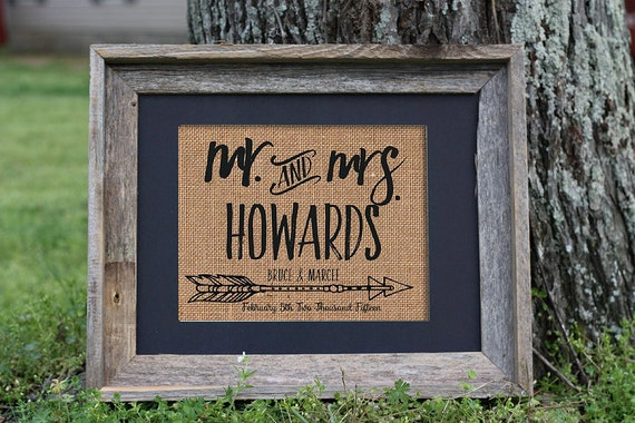Personalized Wedding Gift Burlap Mr And Mrs Bride