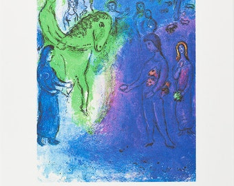 MARC CHAGALL - 'Arrival of Dionysophanes' - hand numbered limited edition vintage lithograph - c1983 (edition of 333. SPADEM, Paris)