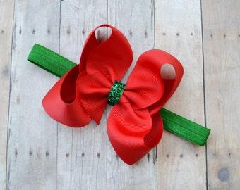 Baby Christmas headband, Christmas baby headband, red and green Christmas headband, Christmas hair bow for baby
