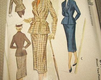 1950's Suit Pattern by McCalls, Pattern #8415, Misses Two Piece Suit Pattern Size 12, Copyright 1951